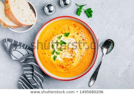 сквош · суп · чаши · хлеб · оранжевый · обеда - Сток-фото © mpessaris