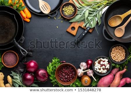 Főzés hozzávalók zöldségek fűszer felső kilátás Stock fotó © karandaev