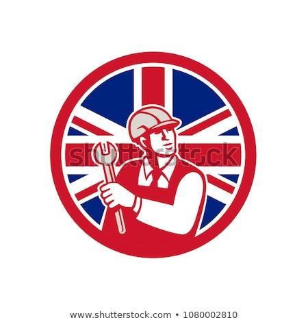 İngilizler mühendis İngiliz bayrağı bayrak ikon retro tarzı Stok fotoğraf © patrimonio