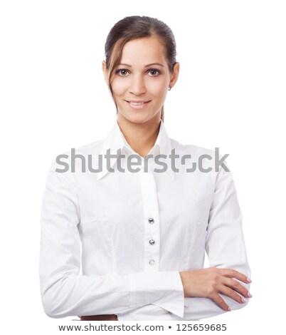 Mulher bonita blusa branca posando sofá casa quarto Foto stock © acidgrey