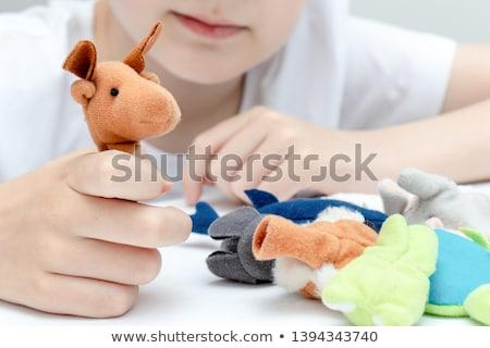 Crianças jogar mão fantoche etapa ilustração Foto stock © bluering