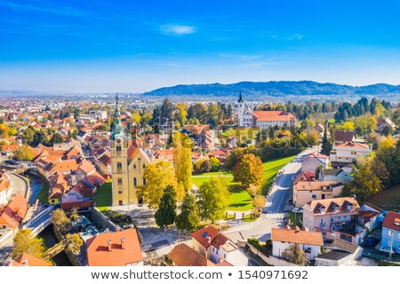 Samobor main square and church tower aerial view Stock photo © xbrchx