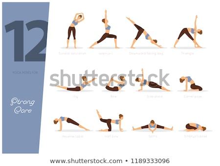 12 yoga fort core femme fille Photo stock © anastasiya_popov
