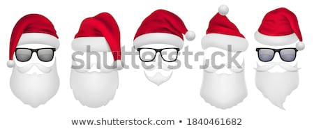 christmas vector set with santa hats beard and mustaches stock photo © pravokrugulnik