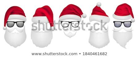 Сток-фото: Christmas Vector Set With Santa Hats Beard And Mustaches
