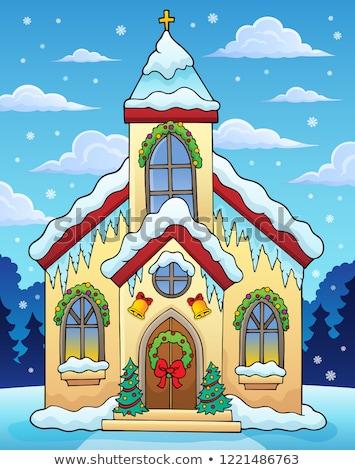 Navidad edificio de la iglesia imagen edificio arte invierno Foto stock © clairev