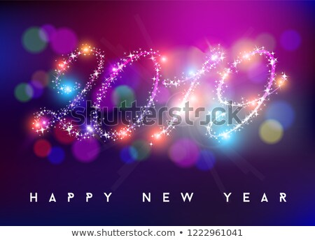 Happy new year 2019 bokeh blur color star shape Stock photo © cienpies
