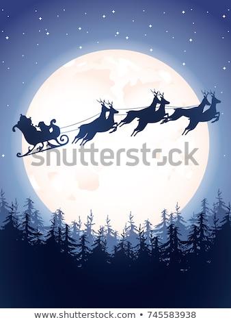 vrolijk · kerstman · herten · winter · bos · fles - stockfoto © liolle