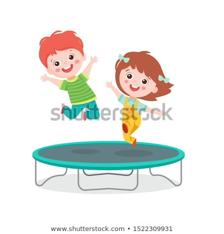 Boy jumping trampoline on white background Stock photo © bluering
