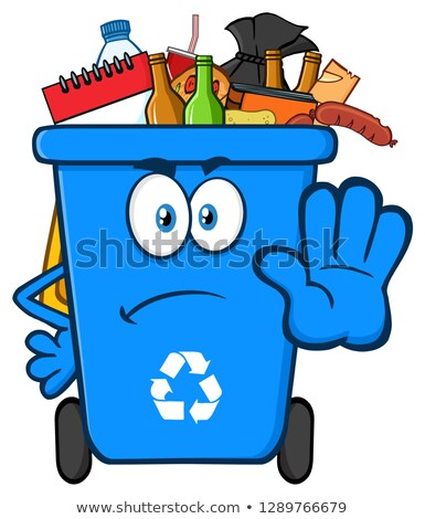 Arrabbiato blu riciclare mascotte carattere Foto d'archivio © hittoon