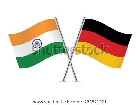 Сток-фото: два · флагами · Германия · Индия · изолированный