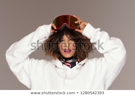 Gorgeous trendy afro woman with snowboard Stock photo © NeonShot