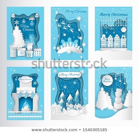Alegre Navidad tarjeta de felicitación fuego calcetines Foto stock © robuart
