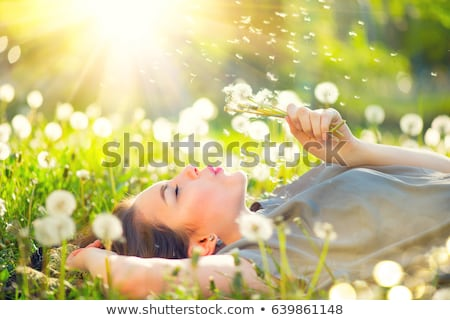 beautiful girl with dandelion flowers in green field Stock photo © svetography