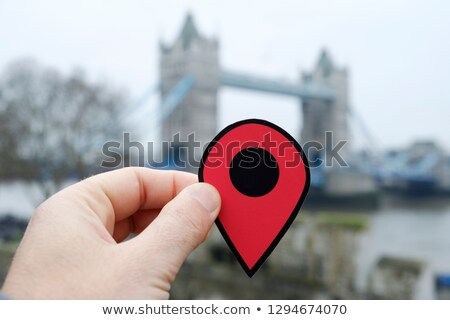 piros · pont · térkép · utazás · tervez · papír - stock fotó © nito