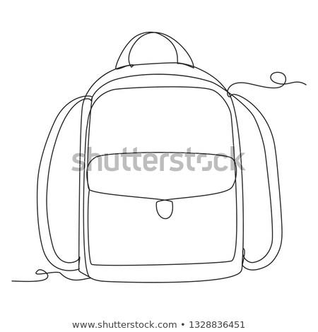 iskola · táska · vonal · rajz · ikon · kempingezés - stock fotó © biv
