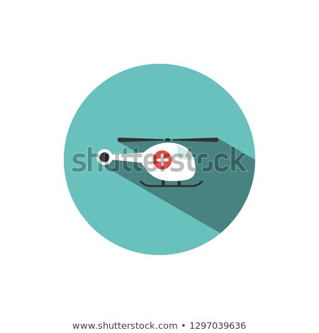 Emergency helicopter icon with shade on a green circle Stock photo © Imaagio