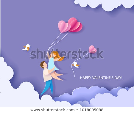 Paper cut flowers and red hearts  Stock photo © Artspace