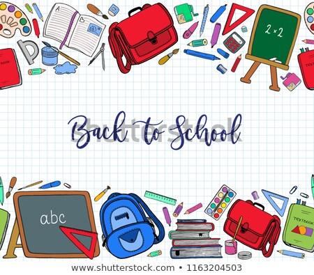 Escolas artigos de papelaria fronteira ilustração lápis arte Foto stock © bluering