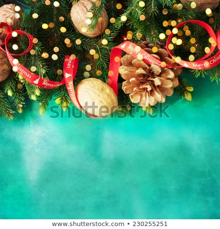 Walnuts in wooden box on lignt brown background Stock photo © furmanphoto