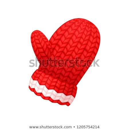Chunky Knitted Glove in Red and White Color Vector Stock photo © robuart
