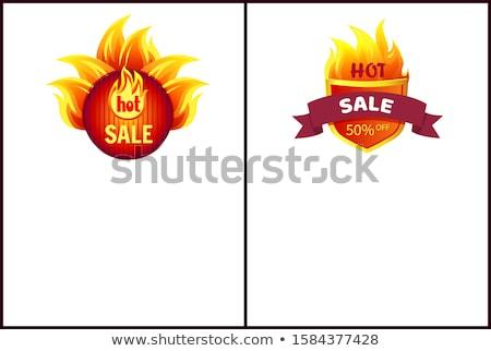 Hot verkoop badge promo bieden 50 Stockfoto © robuart