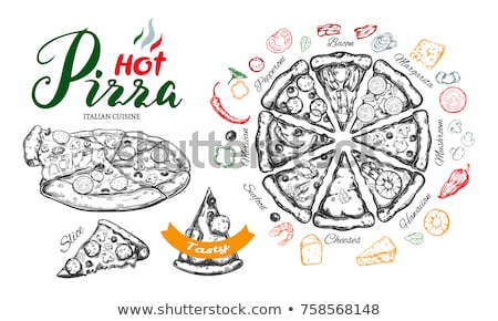Schets pizza verschillend ingrediënten restaurant kaas Stockfoto © Arkadivna