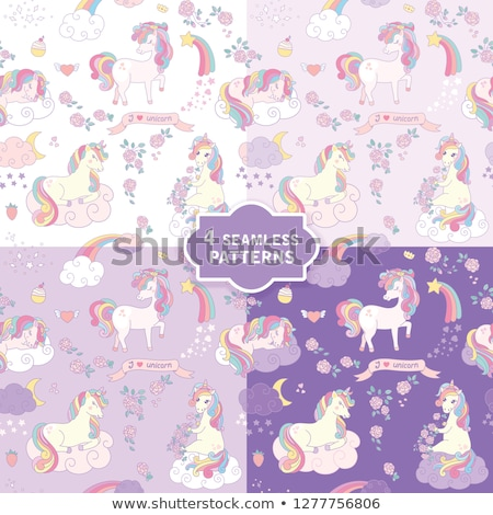 hand drawn seamless vector pattern with cute unicorns in 4 colors stock photo © brahmapootra