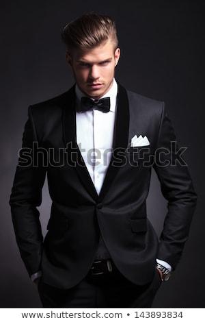 elegante · man · smoking · business · handen · glimlach - stockfoto © feedough
