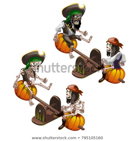 The skeletons of dead pirates swinging on a swing seesaw isolated on white background. Vector cartoo Stock photo © Lady-Luck