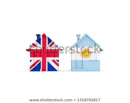 Kettő házak zászlók Egyesült Királyság Argentína izolált Stock fotó © MikhailMishchenko