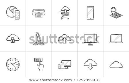 database and padlock hand drawn outline doodle icon stock photo © rastudio