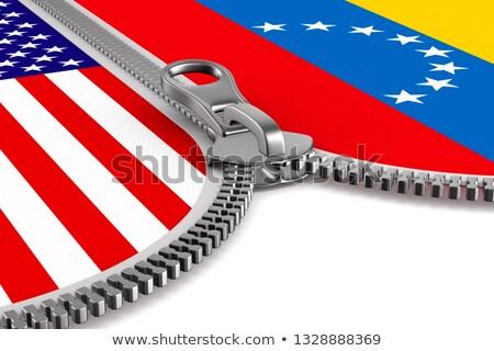 Zászló Venezuela USA cipzár 3d illusztráció zár Stock fotó © ISerg