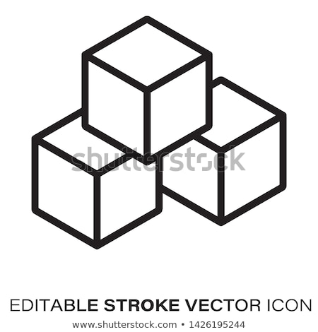 cubo · icono · vector · pictograma · gris - foto stock © smoki
