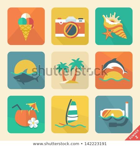 Hawaii flat icons set Stock photo © netkov1