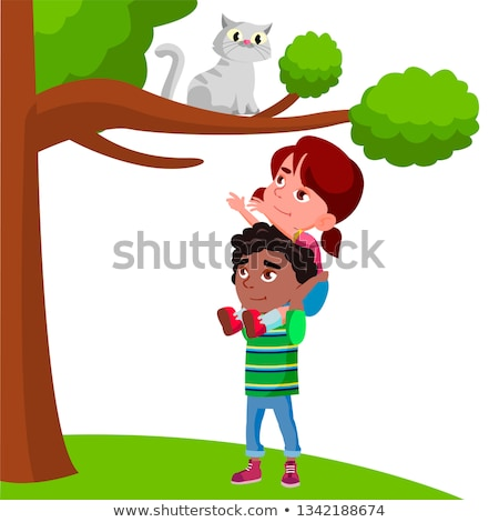 Little Girl Sits On The Boy Shoulders And Pulls Her Hands To Cat Sitting On Tree Vector Flat Cartoon Stock photo © pikepicture