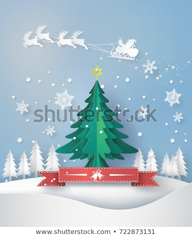 merry christmas greeting card made of paper cut stock photo © robuart