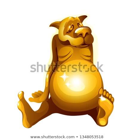 Arany szobrocska kutya izolált fehér vektor Stock fotó © Lady-Luck