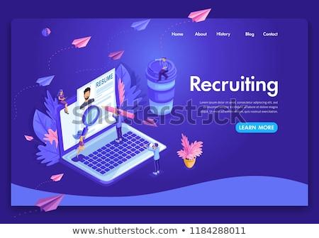 werknemer · landing · pagina · werkgever · vergadering - stockfoto © rastudio