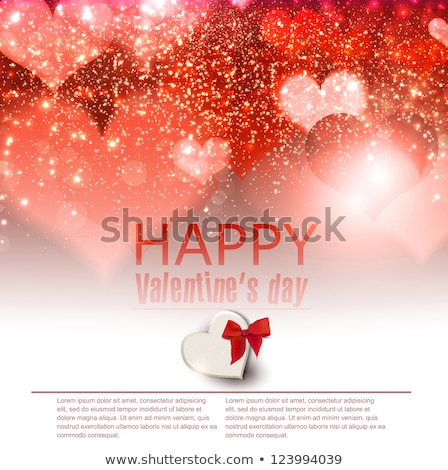 Red glitter heart Valentine day card Vector. Sparkle lovely poster. Romantic banner. Invitation card stock photo © frimufilms