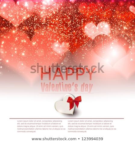 Piros csillámlás szív Valentin nap nap kártya Stock fotó © frimufilms