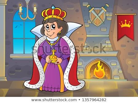 Feliz rainha castelo mulher janela quarto Foto stock © clairev