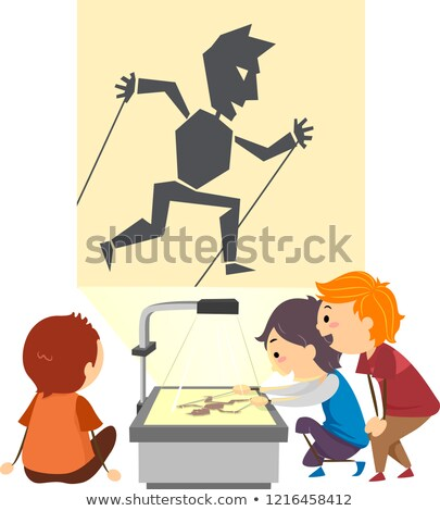 Stickman Kids Shadow Puppeteer Illustration Stock photo © lenm
