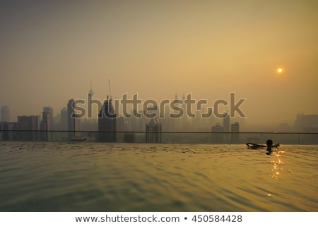 man in outdoor swimming pool with city view in blue sky stock photo © galitskaya