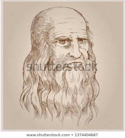 Hand drawn vector portrait on paper background.Leonardo Da Vinci Stock photo © doomko