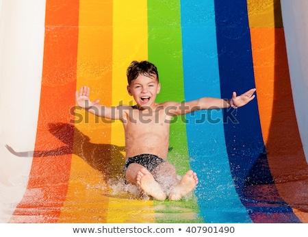 enfants · jouant · slide · école · aire · de · jeux · bois · été - photo stock © anna_om