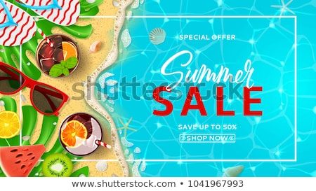 Stock photo: Summer time card of beach vacation in top view