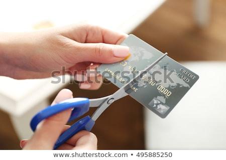 coupé · up · carte · de · crédit · carte · nombre · crédit - photo stock © visualdestination