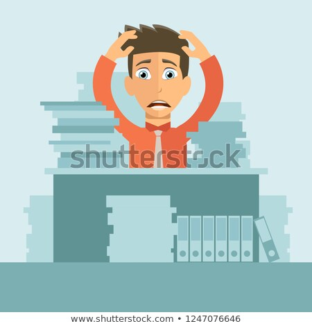overworked man in his office man have a lot of work flat vector illustration stock photo © makyzz
