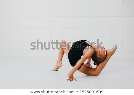 девочку стойка на руках белый иллюстрация девушки улыбка Сток-фото © colematt